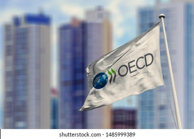 August 23, 2019, Brazil. In this photo illustration the Organisation for Economic Co-operation and Development (OECD) soon appears on a flag.