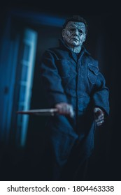AUGUST 23 2020: Halloween slasher Michael Myers stalking with a butcher knife - Neca Halloween 2018 action figure