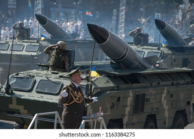 August 24, 2018. Kyiv, Ukraine. Military parade for the Ukrainian Independence Day. 4,500 soldiers and 250 military vehicles took part in the parade.
