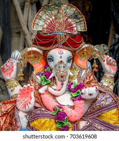 August 24,2017, Kolkata,West bengal,India. Close up face of Hindu God Ganesha in selective focus.