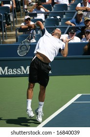 August 25, 2008 - US Open, New York: Tommy Haas of Germany serving at the 2008 US Open during a first round match