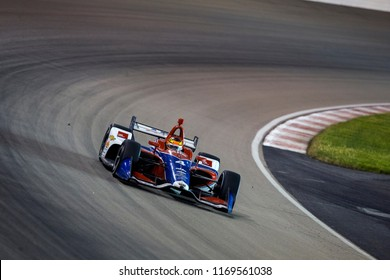 August 25, 2018 - Madison, Illinois, USA: MATHEUS LEIST (4) of Brazil battles for positio-n during the Bommarito Automotive Group 500 at Gateway Motorsports Park in Madison, Illinois.