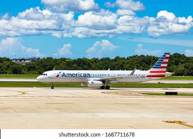August 25. 2019. American Airlines N141NN - Airbus A321-231 at Tampa International Airport. Tampa, Florida, USA.