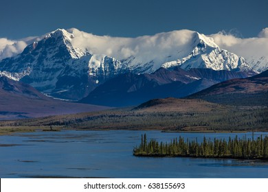 AUGUST 26, 2016 - Lakes of Central Alaskan Range - Route 8, Denali Highway, Alaska,a dirt road offers stunning views of Mnt. Hess Mountain, & Mt. Hayes and Mnt. Debora, Alaska