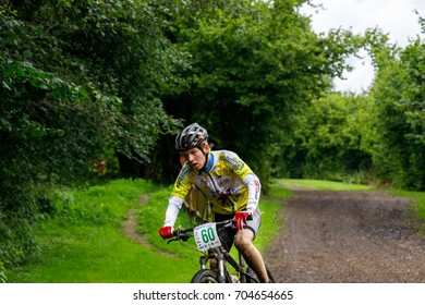August 26, 2017, Bicycle race Akkesport, Narva, Estonia. Teenager sportsman participant race rides on he bicycle at high speed