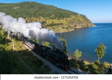 August 26, 2018: Tourist steam locomotive rides in the Circum-Baikal Railway, Old Angasolka village, Russia