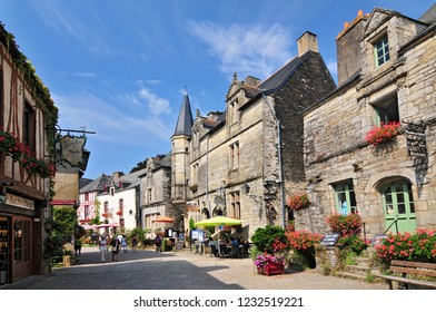 August 27, 2013. Medieval houses at Rochefort en Terre Brittany in north western France.