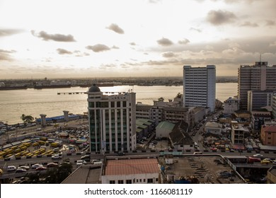 August 27 2018, Lagos Nigeria: Urban view of a busy market area in Lagos Nigeria.