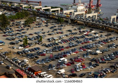 August 27 2018, Lagos Nigeria: Aerial view of a Lagos car park