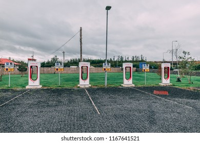 August 27th, 2018, Ballacolla, Ireland - Tesla superchargers at the M8 Ballacolla Service Station, one of only three places in the Republic of Ireland that currently have Tesla superchargers.