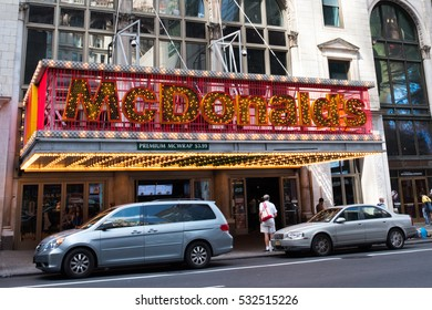 August 28, 2016: Manhattan, NYC: McDonald's in Manhattan, NYC.  McDonald's is an American corporation with annual revenue of $25 billion (2015).