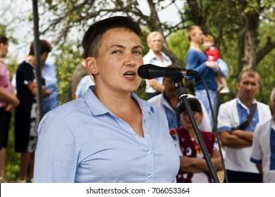 August 28, 2017: Ukrainian deputy Nadezhda Savchenko speaks at the equestrian sporting event in the Ukrainian village of Ploskoe, Balt district, Odessa region on August 28, 2017