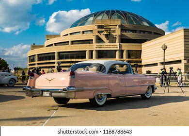 August 28 2018. Aretha Franklin's funeral. Pink Cadillac parked outside the Charles H. Wright Museum of African American History. Pink Cadillac from Aretha hit Freeway of Love. Detroit, Michigan, USA.
