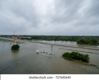 August 28th 2017 Houston Texas- abandon cars on i45 when the water level from a nearby creek flooded the roads and business around the area.