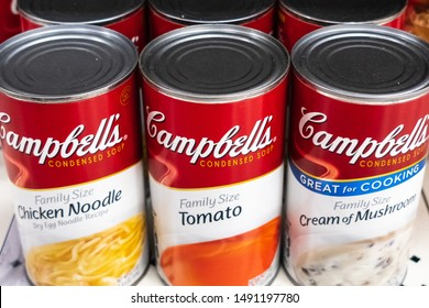 August 29, 2019 Sunnyvale / CA / USA - Various Campbell's Soup Family size cans on display in a supermarket; Campbell's Soup Company was founded in 1869 and now sells products in 120 countries