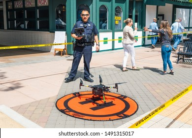 """August 29, 2019 Sunnyvale / CA / USA - Police officer presenting the drone program at the """"Technology Business Expo""""; The Police Department has started using drones since the end of June 2019;"""