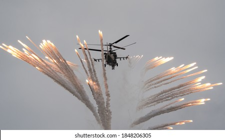 August 29, 2020. Kubinka, Moscow region. Russian Air Force helicopter Kamov Ka-52 shoots flares during demonstration flights at the Kubinka airbase.