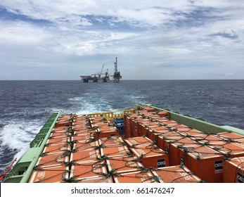 August 3, 2016 - Offshore platform vessel loaded with drilling material inside a container departed from offshore drilling rig in Miri, Sarawak