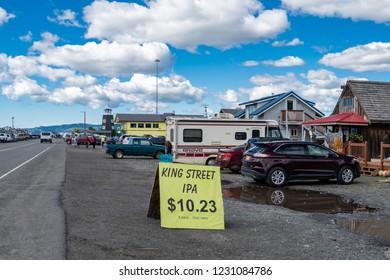 AUGUST 3 2018 - HOMER, AK: Shops and restaurants along the Homer Spit during summer in Alaska