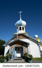 AUGUST 3 2018 - NIKOLAEVSK AK: Russian Old Believers Church in Nikolaevsk Alaska symbolizes Russian Culture in Alaska today