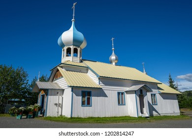 AUGUST 3 2018 - NIKOLAEVSK, Alaska: Sunny summer day at the Russian Old Believers Church in Nikolaevsk Alaska. Russian culture is still found in some areas in AK