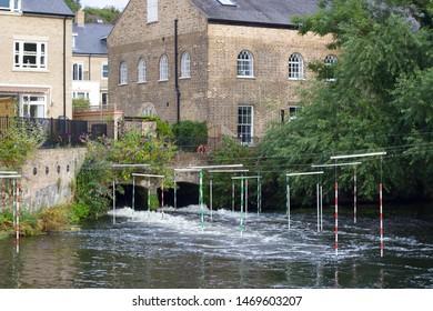 August 3 2019, Harefield, England: Canoe slalom poles over gushing water