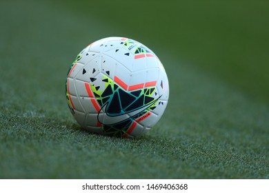 AUGUST 3, 2019 - KYIV, UKRAINE: Nike Merlin 2020 FIFA SOCCER BALL on a grass. Close-up detailed view. Beautiful green pitch on the background.