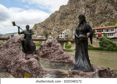 AUGUST 30,2017 AMASYA TURKEY.Amasya is a city in northern Turkey . Amasya is located inside of the Black Sea Region. Ferhat and Sirin love story sembol from city center.