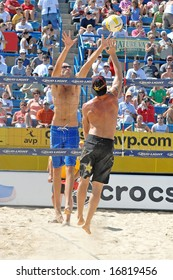 August 31, 2008--Mason, OH.  Olympic gold medalists Phil Dalhausser and Todd Rogers play in a tournament at the Linder Tennis center