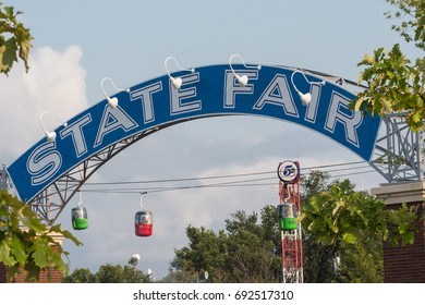 AUGUST 31 2016 - FALCON HEIGHTS, MINNESOTA: The blue State Fair arch welcomes visitors to the Minnesota State Fair, a 12 day festival enjoyed by fair-goers.