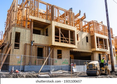 August 31, 2019 San Jose / CA / USA - Multifamily residential building under construction; Silicon Valley and the San Francisco Bay Area is currently facing a housing crisis