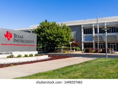 August 31, 2019 Santa Clara / CA / USA - Texas Instruments Inc (TI) HQ in Silicon Valley; TI is an American technology company that designs and manufactures semiconductors and integrated circuits