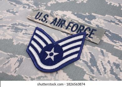 August 31, 2020. US AIR FORCE branch tape and Staff Sergeant rank patch on digital tiger-stripe pattern Airman Battle Uniform (ABU)