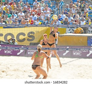August 31st, 2008--Mason, Ohio.  Kerri Walsh spikes ball  during the finals of an AVP tournament vs. Elaine Youngs and Nicole Branagh.  Walsh was defeated for the first time in over a year
