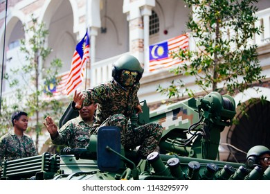 August 31st 2017, Kuala Lumpur Malaysia - The Royal Malaysian Army waving to crowd as they are marching towards Dataran Merdeka