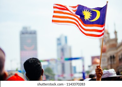 August 31st 2017, Kuala Lumpur Malaysia - Malaysian Flag in the crowd of people during Independence Day celebration