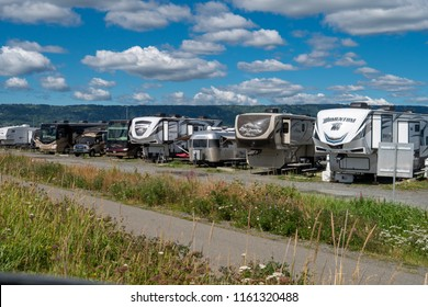 AUGUST 4 2018 - HOMER, ALASKA: RVs (recreational vehicles) and campers fill the campgrounds and line the streets of the Homer Spit, a tourist attraction on Alaska's Kenai Peninsula