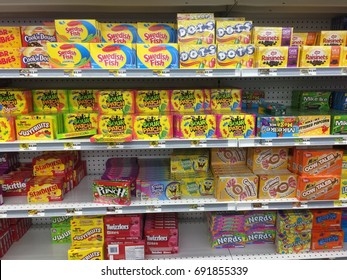 AUGUST 5 2017 - MAPLE GROVE, MINNESOTA: Movie theater box candy sits on the shelves at a Five Below discount store. Five Below stores are new to the Twin Cities Metro Area in Minneapolis.