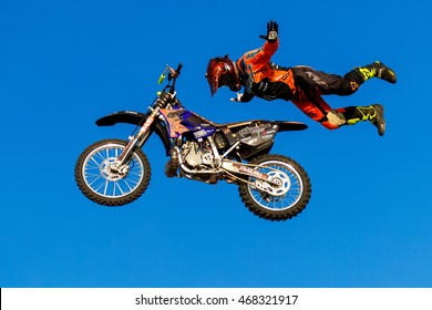 August 6 2016. Ryazan, Russia. A professional rider at the FMX (Freestyle Motocross) make an acrobatic jump at the motorshow. Documentary Editorial Image.