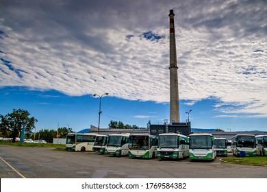 August 6, 2017, Presov, Slovak Republic. Bus station in Prešov.