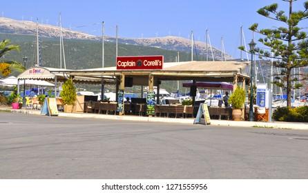 August 6,2013-Sami, Kefalonia, Greece. Captain Corelli's Cafe on the sea side.