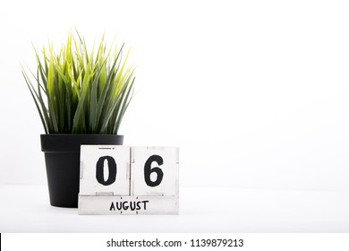 August 6th. Image of August 6, calendar on white background with empty space for text. Summer time