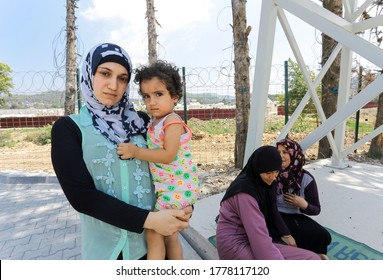 August, 7, 2016. Syrian refugee family living in refugee camp. Hatay, Turkey .