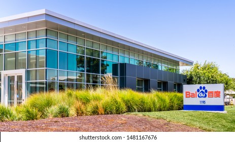 August 7, 2019 Sunnyvale / CA / USA - Baidu HQ in Silicon Valley; Baidu, Inc. is a Chinese multinational technology company specializing in Internet-related services and products and AI
