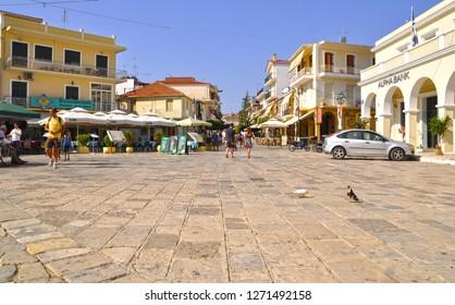 August 7,2013- Zakynthos Island, Greece. Town center of Zante.