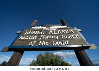 AUGUST 8 2018 - HOMER, AK: Sign welcomes visitors to Homer Alaska, the Halibut Fishing Capital of the World