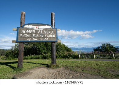 AUGUST 8 2018 - HOMER, AK: : Sign welcomes visitors to Homer Alaska, the Halibut Fishing Capital of the World