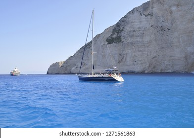 """August 8,2013- Zakynthos, Greece.  Navagio Beach or Shipwreck Beach, is an exposed cove, sometimes referred to as """"Smugglers Cove"""", on the coast of Zakynthos, in the Ionian Islands of Greece."""