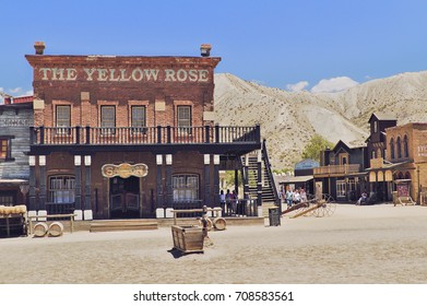 August 9, 2017 Desert of Tabernas. Almeria. Spain. Scenery of the West Village dedicated to the realization of films and tourist visits.