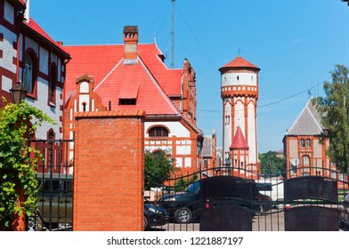 August 9, 2018, Kaliningrad region, Baltiysk, Russia,Water tower infantry barracks, the building of the Baltic fleet of the Russian Federation